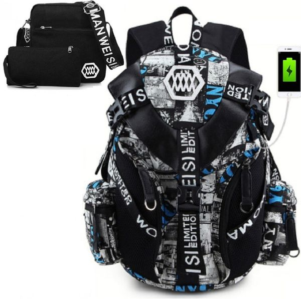 "Free Shipping, 3PCS/Set USB & Earphone 17"" Laptop Backpack"