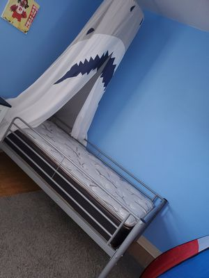 NEW CONDITION TWIN SIZE BED GRAY METAL FRAME W MATTRESS MUST SELL for Sale in Riverside, CA