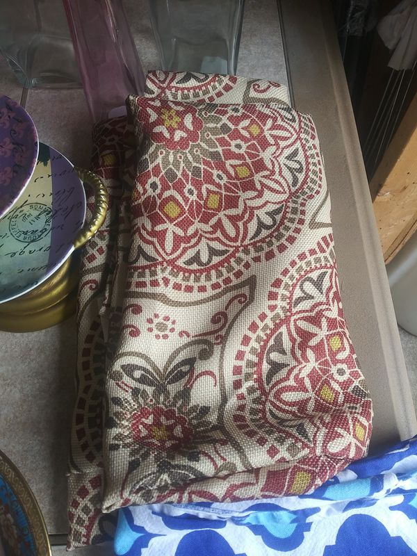 70 in round tablecloth, $8