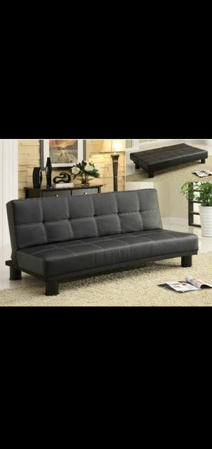 Black leather sleeper couch for Sale in Anaheim, CA