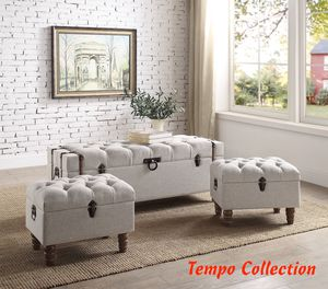 NEW, Mark Sachi Taupe 3pc Storage Ottoman Set, SKU# 4923SET-TAU for Sale in Westminster, CA