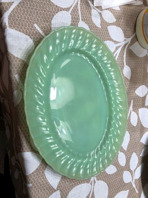 Anchor Hocking Fire King Jane Ray Jadeite Oval Green Glass Platter Plate for Sale in Miami, FL
