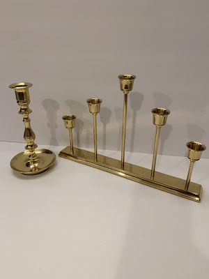 Brass Baldwin Saucer Candlestick Vintage & Partylite Brass Quintette Candelabra for Sale in Calimesa, CA