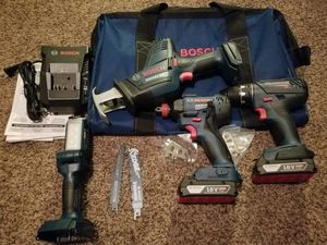 Bosch 18-Volt 4-Tool Power Tool Combo Kit with Soft Case for Sale in Modesto, CA