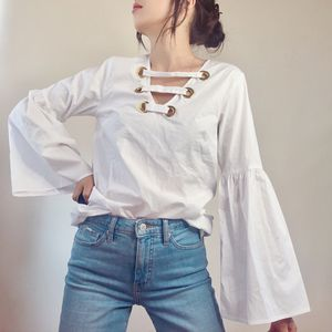 White LongSleeve VNeck Flared Sleeve Blouse for Sale in Kenmore, WA