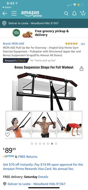 IRON AGE Pull Up Bar for Doorway - Angled Grip Home Gym Exercise Equipment - Pullupbar with Shortened Upper Bar and Bonus Suspension Straps(Fits Almo for Sale in Los Angeles, CA