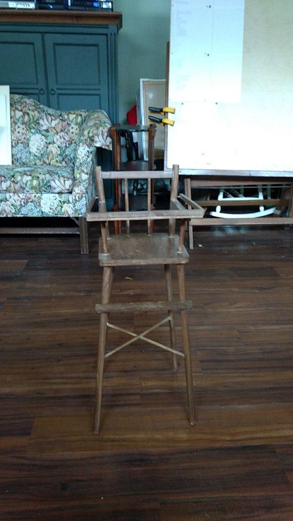 Precious little antique doll high chair