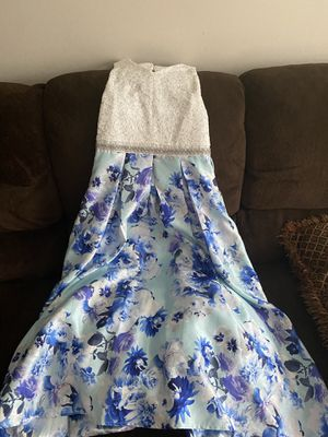 Girl's Long Blue Floral dress size 14 for Sale in Smoke Rise, GA