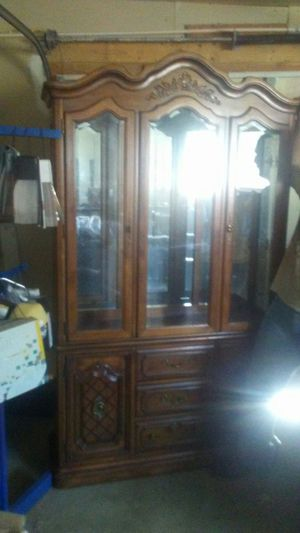 Vintage China cabinet with glass shelves and light for Sale in Phoenix, AZ