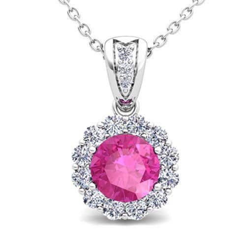 Pink Round Cut Sapphire With Diamond Women Necklace Pendant White Gold 14K
