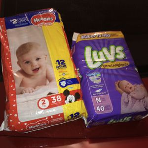 Diapers size 2 Huggies and newborn Luvs for Sale in Mableton, GA