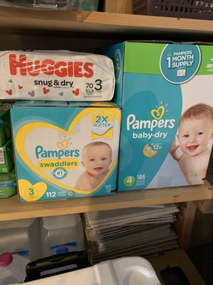 Unopened Huggies and Pamper Diapers, size three and four for Sale in Pittsburgh, PA