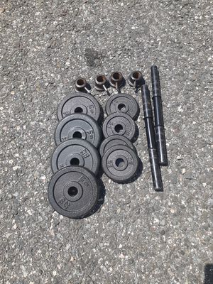 34lbs of Standard Weights + Bars + Collars for Sale in Newton, MA