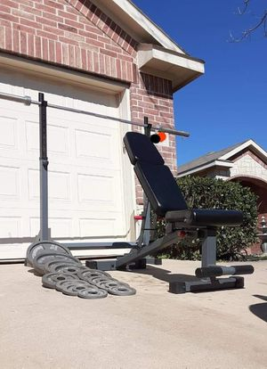 Squat rack weights bench and bar for Sale in Saginaw, TX