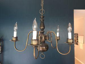 Antiqued brass chandelier for Sale in Spring, TX