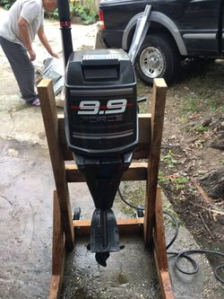 9.9 HP/ gas tank, homemade wood stand, for Sale in Alexandria,  VA