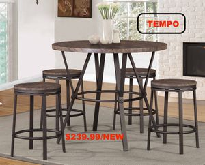 5PC Counter Height Round Dining Set, Brown for Sale in Fountain Valley, CA