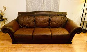 Beautiful Real Brown Leather Couch Sofa for Sale in West Palm Beach, FL