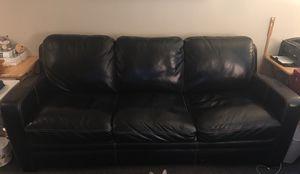 Black Leather Simon Li Sofa - $100/obo for Sale in Portland, OR