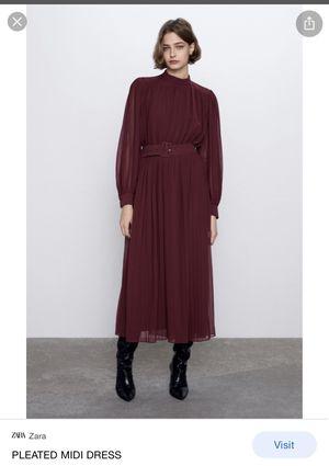ZARA Pleated Midi Maroon dress for Sale in Medford, MA