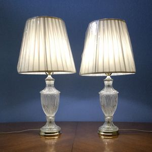 Pair of Vintage Crystal Lamps with Pleated Shades for Sale in Clovis, CA