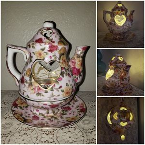 Cottage/shabby chic teapot candle holder for Sale in Glendale, AZ