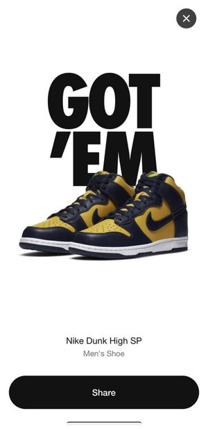 "Nike SP Dunk High ""Michigan "" 2020 SIZE US 11 UK 10.5 Travis Scott Effect for Sale in Fayetteville, NC"
