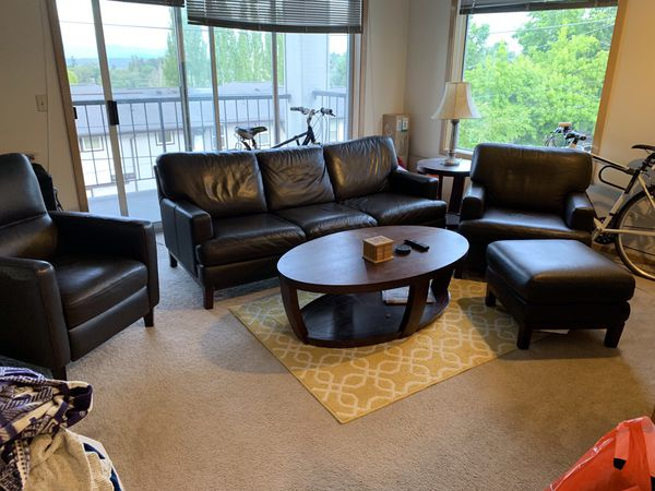Living room set - couch, sofa with ottoman, recliner, coffee table, side table and lamp!