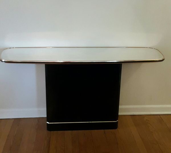 Black Console Table with Mirrored Top