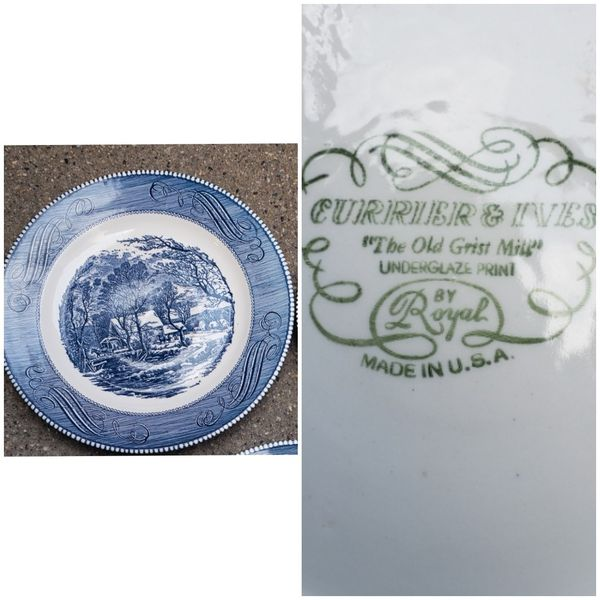 currier and Ives the old gritz mill collectible plate