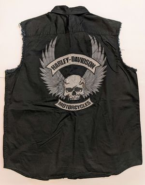 Mens Harley Davidson Black Skulls Embroidered Sleeveless Button Shirt XL for Sale in Carrollton, TX