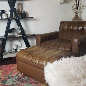 1975 Vintage Classic Designer Leather Couch, Chair And Ottoman Set for Sale in Los Angeles, CA