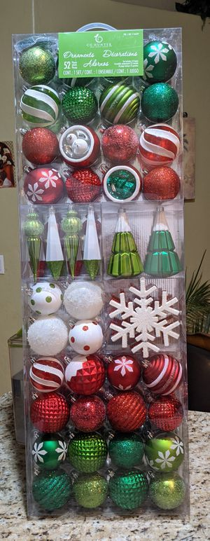 NEW!!Christmas Ornaments 52 in the box for Sale in Glendale, AZ