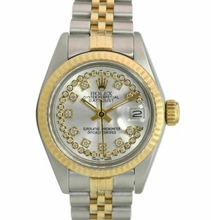 Rolex Lady Datejust 69173 18KY/SS Silver String Diamond Dial Fluted Jubilee for Sale in Los Angeles, CA