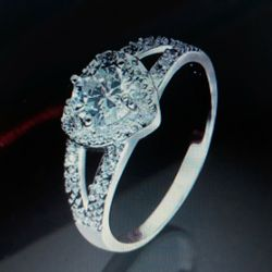 925 Sterling Silver Heart-Shaped Engagement Ring, Size 7. for Sale in Dallas,  TX