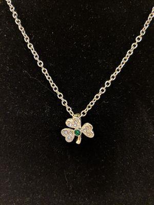 Lucky Charm Irish Shamrock Pendant Necklace Rhinestone Studded for Sale in Manassas, VA