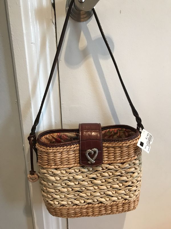 Authentic Brighton Braided Woven Natural Straw & Brown Leather Tote Shoulder Handbag