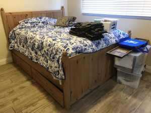 Solid pine queen bed frame with under drawers w/dresser for Sale in Beaufort, SC
