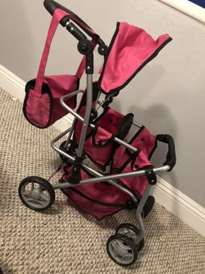 Double stroller for dolls with diaper bag for Sale in Riverside, CA