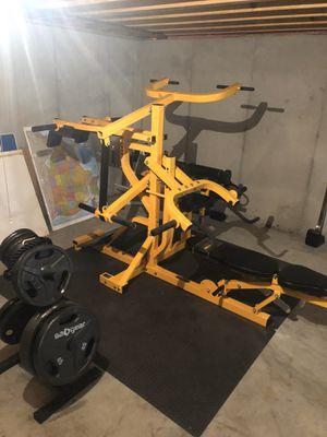 Powertec home gym and weights olympic plates for Sale in Saint Charles, MO