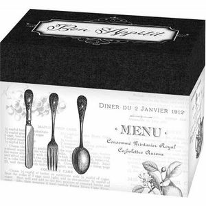 Lillian Rose Bon Appetit Recipe Card Box, Black/White for Sale in Poway, CA