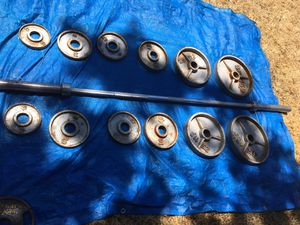 Olympic weights set and 7 ft 45 LBS OLYMPIC BARBELL $550 O.B.O for Sale in Stockton, CA