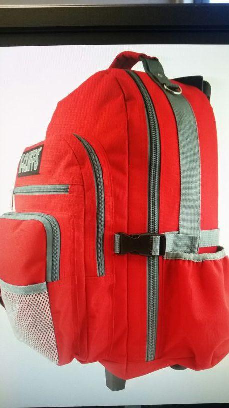 Rolling School Backpack Travel Bag Wheeled Daypack Bookbag with Wheels 10 external pockets.
