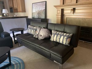 IKEA - black leather Sleeper sofa/couch/futon for Sale in Los Gatos, CA
