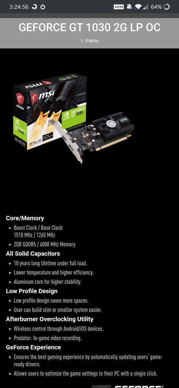 MSI GTX 1030 2GD4 LP OC