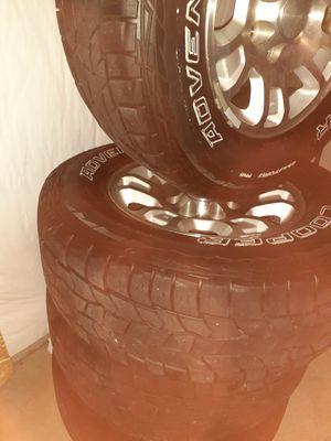 Rims and tires for sierra or Silverado 60%life good conditions rines y llantas con 60% de vida las llantas rines en buenas condiciones $350 for Sale in Denver, CO