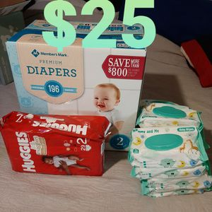 Size 2 Diapers & 11 Packs Of Wipes for Sale in Los Angeles, CA
