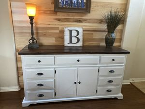 Extra large solid farmhouse style wood dresser, entry table, or TV console. $425 for Sale in Saginaw, TX