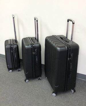 """New in box $95 Black 3pcs Luggage Travel Set Bag ABS Trolley Rolling Wheels Suitcase 20"""" 24"""" 28"""" for Sale in Whittier, CA"""