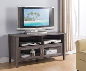 Tv Stand with 2 Glass Door , Distressed Grey for Sale in Pico Rivera, CA